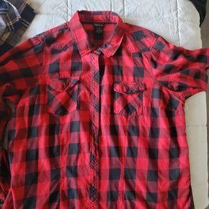 TORRID black red plaid shirt